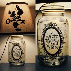 Beautifully hand crafted mason jar lamp inspired by Alice in Wonderland.  Etsy PracPerfCrafts