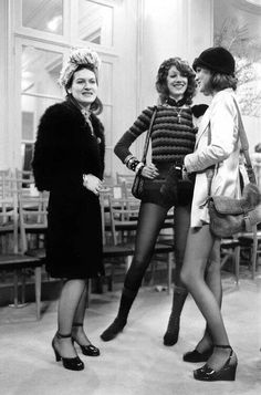 The ultimate trio of Fashion Icons - Paloma Picasso, Marisa Berenson and Loulou de La Falaise at presentation of Yves Saint-Laurent new collection January 29, 1971.