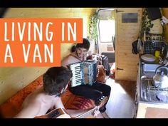 Young man converts van into tiny off-grid traveling home (Video) : TreeHugger Gypsy Living, Van Living, Travel Around Europe, Traveling Europe, Converted Vans, Van Dwelling, Mobile Living, Van Home, I Quit My Job