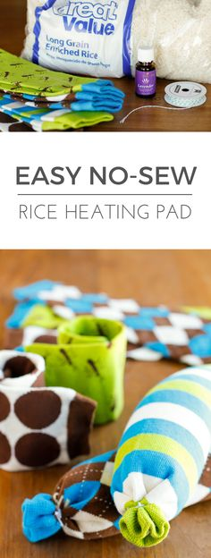 Easy No-Sew Rice Heating Pad -- making this homemade microwavable rice heating pad took less than 5 minutes start to finish. Perfect for soothing sore muscles or warming up from the cold, especially when you add a few drops of essential oil!   via @unsophisticook on unsophisticook.com
