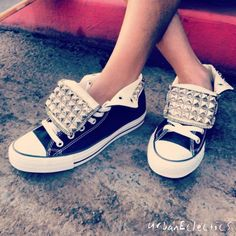Studded Hi Top Chuck Taylor Converse - going to get the stuff to make these tomorrow!!! (:
