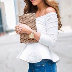 Usually not crazy bout off shoulder tops, but this is cute.