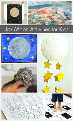 Science for Kids: Moon Themed Crafts and Activities for Kids- including moon sensory play, moon art projects, and moon learning activities!