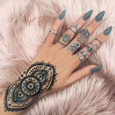 Nice nails, Hena Tattoo, and Silver Jewelry!!!