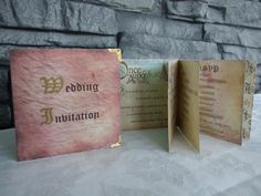 wedding invitations <3 handmade in the style of a fairytale book <3 love this idea for my theme!!