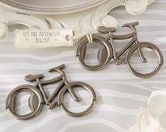 "WhereBridesGo.com: Bicycle Bottle Opener Wedding Favor ....Each of these favors has a pewter finish and comes with a fabric tag that says ""Let the Adventure Begin!"" http://www.wherebridesgo.com"