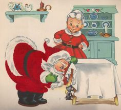 Vintage Christmas Card, Mr and Mrs. Images Vintage, Vintage Christmas Images, Old Christmas, Old Fashioned Christmas, Christmas Scenes, Retro Christmas, Vintage Holiday, Christmas Pictures, Christmas Greetings