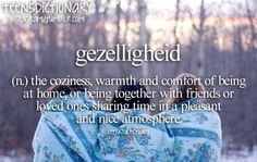 Gezelligheid (n,) The coziness, warmth and comfort of being at home or being together with friends or loved ones sharing time in a pleasant and nice atmosphere.