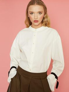 Dahlia Zaha White Blouse with Pleated Cuff and Black Wrist Tie