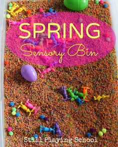 What an inviting and brightly colored sensory bin for Spring! Kids will love this play idea inside or outside!