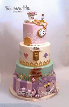 4 tiered Alice in Wonderland cake for a christening for 4 children :)