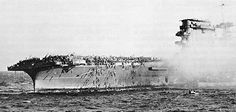 USS Lexington, CV 2 - sinks on May 8, 1942 following the Battle of the Coral Sea