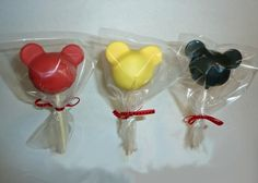 Mickey cake pops that went with a Mickey Mouse clubhouse birthday cake.