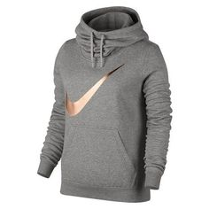 Women's Nike Sportswear Funnel Neck Hoodie ❤ liked on Polyvore featuring tops, hoodies, long sleeve tops, cowl neck tops, hooded pullover, nike and long sleeve hoodie