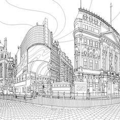 FREE printouts from this adult coloring book. Piccadilly Circus, London.<br>All photographs by Steve McDonald