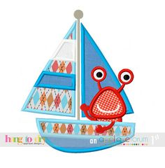 Sailing Monster Applique by Hang to Dry FREE for Premium Members of #AppliqueForum on March 12, 2015 only www.appliqueforum.com #designoftheday #applique #machineembroidery