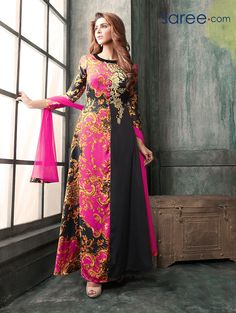 BLACK AND PINK SATIN PRINTED SUIT