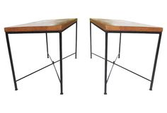 Wood & Wrought Iron Tables, Pair
