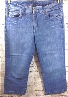 KUT from the KLOTH Crop Jeans Sz 10 Distressed Denim Capri Mid Rise 32 x 23 EUC #KUTfromtheKloth #CapriCropped