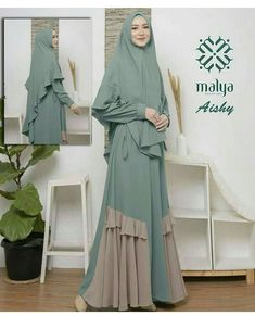Gamis - Another! Street Hijab Fashion, Abaya Fashion, Modest Fashion, Fashion Dresses, Moslem Fashion, Muslim Women Fashion, Islamic Fashion, Hijab Style Dress, Abaya Designs