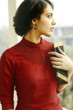 Piping Salwar Designs, Kurti Neck Designs, Collar Kurti Design, Blouse Designs, Indian Fashion, Ethnic Fashion, Red Kurta, Designer Dresses, Kurtis