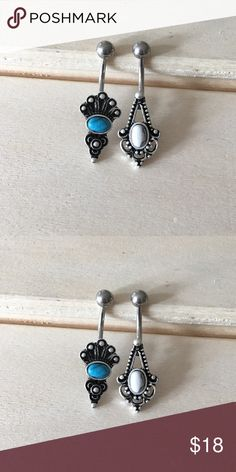 ✨Bundle Set✨ Boho Turquoise Belly Button Ring Set Condition: Brand New Metal : Surgical Steel  Size: 14 Gauge Includes both.  If you have any questions please leave a comment down below.  Reasonable offers  accepted 😄 I do not trade .   -Belly Button Ring Navel Piercing 14G Surgical Steel Body Jewelry New- Jewelry