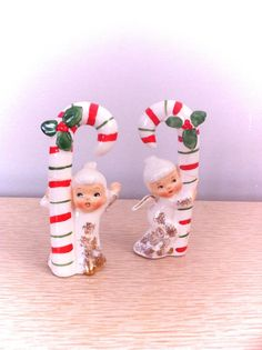 Vintage Candy Cane Angels As Is