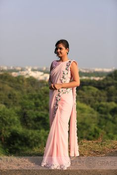 Baby Pink Rose Pure Chiffon Ribbon-Work Saree by EASTANDGRACE