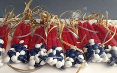 Fourth of July Treat Bags - these take about two seconds to make and are a delightful little party favor for the Fourth!