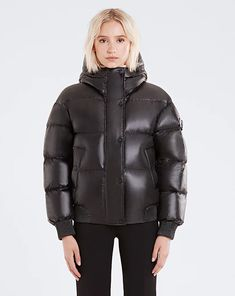 Red Fashion, Daily Fashion, Womens Fashion, Black Down, Puffy Jacket, Down Coat, Cool Girl, Combat Boots, Shop Now