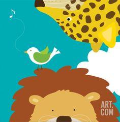 Safari Group: Leopard and Lion Print by Yuko Lau at Art.com