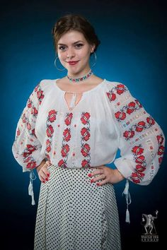 Alina is wearing the traditional Romanian Label blouse with embroided butterflies accessoriezed with a traditional necklace! International Day, Butterflies, Beautiful People, Bell Sleeve Top, Label, Blouses, Costumes, Traditional, Studio