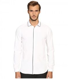 The Kooples - Classic Collar Shirt w/ Navy Piping (White/Navy) Men's Long Sleeve Button Up