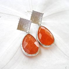 Silver Square Post with Orange Teardrop by laurenamosdesigns, $36.00