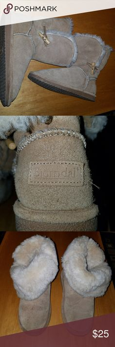 Like Uggs Sheepskin boots Awesome warm boots. Worn for about 2 weeks. It doesn't get cold here for them. There are a few small spots on the front of one boot that can easily be washed off. Great condition.  My sister wore these with socks last winter. Bjorn Borg Shoes Winter & Rain Boots