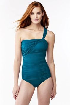 1a9dbccfb836d Women s Slender One Shoulder One Piece Swimsuit from Lands  End