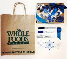 Lunch bag = gift wrap. Bag+stencils+sharpie+ribbon #DIY #psimadethis