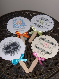 Wedding Fans with Monogram could include program on the back