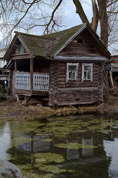 Russian house in the museum of wooden architectute. Myshkin, Russia.