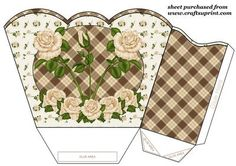 Ivory rose gift basket,you will need to print 2 sheets to make gift basket