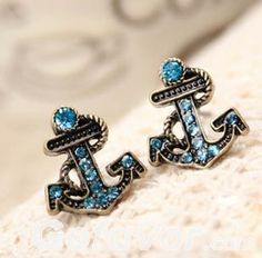 A Retro Style Navy Rhinestone Anchor Earrings,cheap fashion earring,only $0.99 shop at www.favorwe.com.