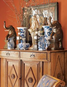 Blue and White porcelain in VERANDA. Interior Design by Michael Dale.