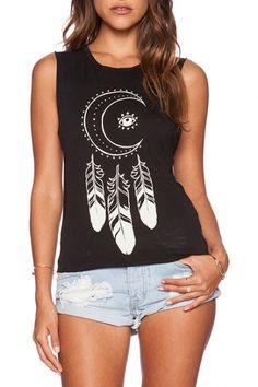 Totem Moon&Eye&Feather Print Black Tanks