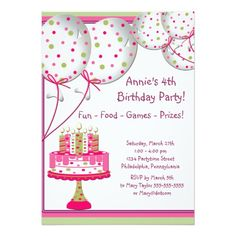 Pink Green Balloons Cake Girls 4th Birthday Party 5x7 Paper Invitation Card Favors