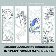 D I Y Book Mark Prints Instant Download Bookmark Coloring - Schöne Lesezeichen