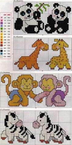 Facil de Fazer Ponto Cruz Small Cross Stitch, Cross Stitch For Kids, Beaded Cross Stitch, Cross Stitch Baby, Cross Stitch Animals, Cross Stitch Charts, Cross Stitch Embroidery, Baby Cross Stitch Patterns, Cross Stitch Designs