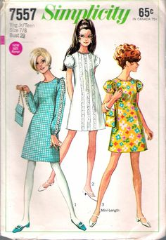 Vintage 1968 Simplicity 7557 Mod Dress in Two Lengths & Bag Sewing Pattern Size 7/8 Bust 29 by Recycledelic1 on Etsy