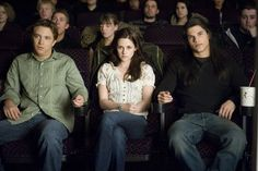 That awkward double date - Mike (Michael Welch), Bella (Kristen Stewart) and Jacob (Taylor Lautner) at the movies.  (Twilight)