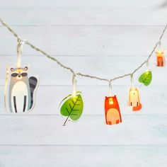 14 Woodland Children's Fairy Lights   Lights4fun.co.uk Nursery String Lights, String Lights In The Bedroom, Nursery Lighting, Indoor String Lights, Battery Powered String Lights, Christmas Lights Etc, Octopus Decor, Acrylic Shapes, Woodland Christmas