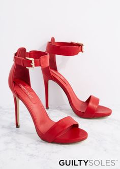 image of Red Cheyanne Open Toe Heel By GuiltySoles